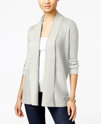 Jm Collection Petites Petite Open Front Ribbed Cardigan Only At Macy's Eggshell