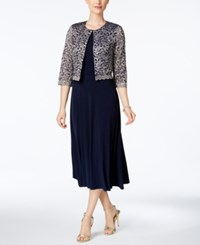 Jessica Howard Petite Midi Dress And Lace Jacket Navy