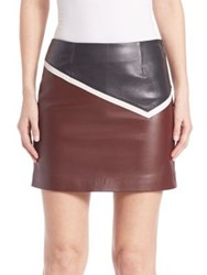 Sonia Rykiel Colorblock Leather Skirt Burgundy Navy