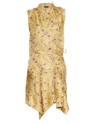 Isabel Marant Tabby Printed Silk Dress Yellow