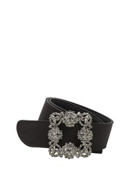 Manolo Blahnik 35Mm Hangisi Swarovski Satin Belt Black