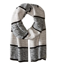 Cole Haan Wide Marl Stripe Muffler Black Ivory Grey Scarves Multi