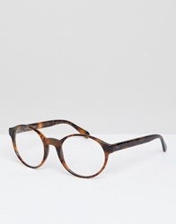 Polo Ralph Lauren Round Glasses In Tort Brown