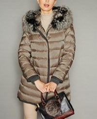 The Fur Vault Fox Trim Hooded Puffer Coat Taupe