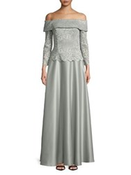 Cachet Off The Shoulder Lace Bodice Gown Grey