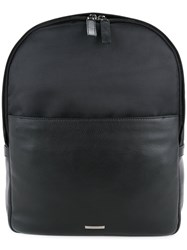 Cerruti 1881 Padded Shoulder Strap Backpack Men Calf Leather Nylon One Size Black
