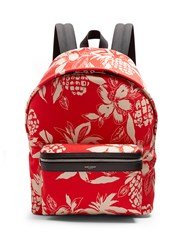 Saint Laurent City Hibiscus Print Canvas Backpack Red Multi