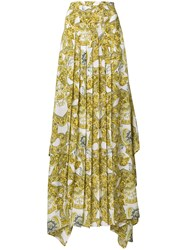 Versace Baroque Pleated Maxi Skirt Yellow And Orange