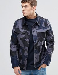 G Star Vodan 3D Slim Denim Jacket Camo Print Fantem Blue Grey