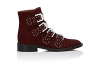 Givenchy Women's Elegant Suede Ankle Boots Burgundy Red
