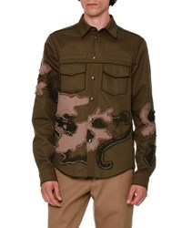 Valentino Unfinished Hem Panther Embroidered Military Shirt Olive