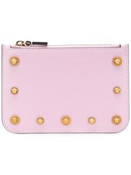 Versace Logo Stud Zip Pouch Pink And Purple