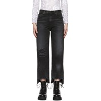 R 13 R13 Black Cropped High Rise Camille Jeans