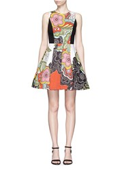 Alice Olivia 'Adrianne' Boat Neck Dress In Retro Floral Print Multi Colour