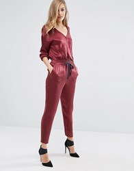 Sisley Jumpsuit With Tie Waist Red