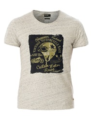 Red Soul Printed And Textured T Shirt Beige