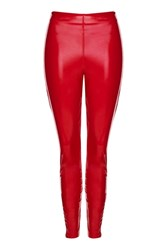 Topshop Vinyl Leggings Red