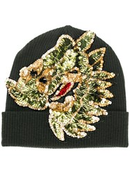 P.A.R.O.S.H. Sequin Embroidered Knitted Beanie Green
