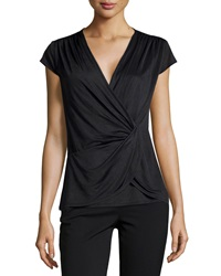 Laundry By Shelli Segal Cap Sleeve Twisted Front Top Black 001