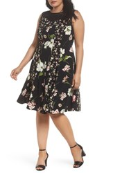 Gabby Skye Plus Size Women's Lace Yoke Floral Fit And Flare Dress Black Multi