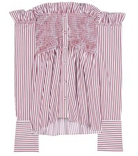 Victoria Beckham Striped Off The Shoulder Cotton Top Red