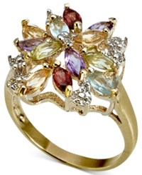 Victoria Townsend 18K Gold Over Sterling Silver Ring Multistone Cluster Ring