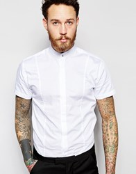 Noose And Monkey Short Sleeve Grandad Shirt In Skinny Fit White