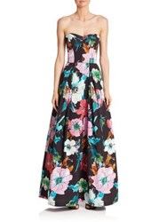 Milly Paper Floral Strapless Gown Black