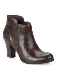 Born Claire Leather High Heel Booties Brown