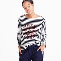 J.Crew Striped Boatneck T Shirt With French Logo