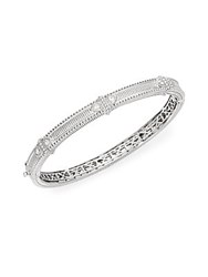 Judith Ripka Ambrosia White Sapphire And Sterling Silver Bangle Bracelet