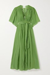 Forte Forte Gathered Embroidered Cotton And Silk Blend Voile Maxi Dress Green