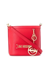 Love Moschino Logo Plaque Bucket Bag Red