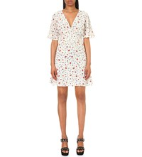 The Kooples Floral Print Silk Dress Black