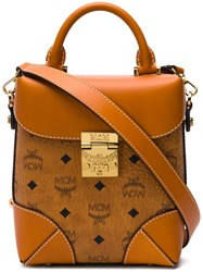 Mcm Logo Print Tote Bag Brown