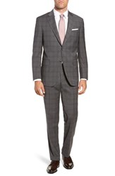 Peter Millar Big And Tall Flynn Classic Fit Plaid Wool Suit Grey