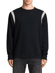 Allsaints Magist Relaxed Fit Crew Neck Sweatshirt Black Putty White