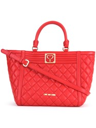 Love Moschino Quilted Trapeze Tote Women Polyurethane One Size Red