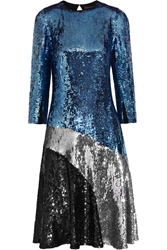 Jonathan Saunders Jerri Sequined Crepe De Chine Dress Blue