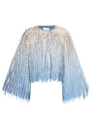 Marco De Vincenzo Laser Cut Fringe Georgette Jacket Blue Multi