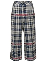 Antonio Marras Checked Cropped Trousers Blue