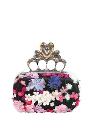 Alexander Mcqueen Flower Appliques Knuckle Box Clutch