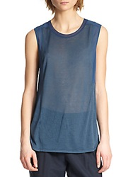 Vince Mixed Media Silk Muscle Tee Royal Blue