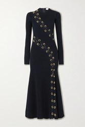 Alexander Mcqueen Lace Up Leather Trimmed Ribbed Knit Midi Dress Navy