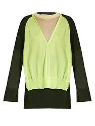 Toga Layered V Neck Sweater Green Multi