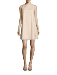 Aidan Mattox Beaded Trapeze Cocktail Dress Champagne Silver