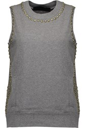 Norma Kamali Stud Embellished Stretch Cotton Top Gray