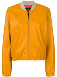 Paul Smith Ps By Zip Front Bomber Jacket Yellow And Orange