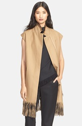 3.1 Phillip Lim Fringe Detail Long Wool Vest Tan