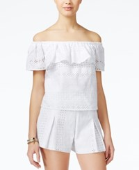 Xoxo Juniors' Eyelet Off The Shoulder Ruffle Top White